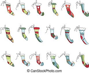 Set of different textile Santa socks isolated on white. Bright colors.