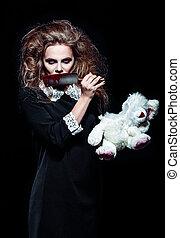 horror, shot:, assustador, monstro, menina, com, rasgado,...