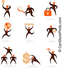 Collection of abstract people logos - 7