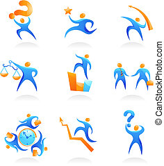 Collection of abstract people logos - 9