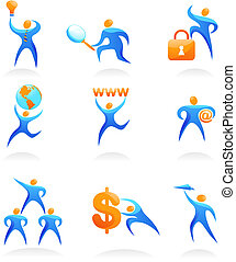 Collection of abstract people logos - 10