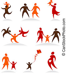 Collection of abstract people logos - 2 - Collection of...