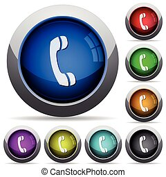 Cal button set - Set of round glossy call buttons Arranged...