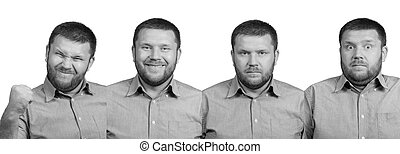 Set of four emotions bearded man - Four different emotions...