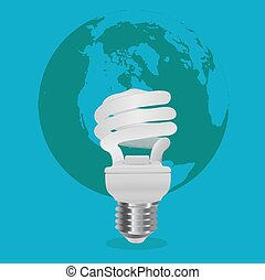 energy saving concept, light bulb in front of world map,...