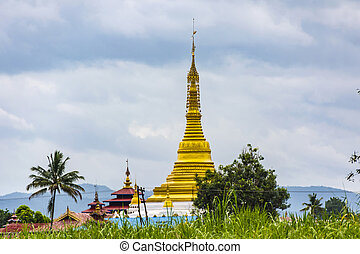 Golden Stupa, Inle Lake, Myanmar - Golden Stupa at the Inle...
