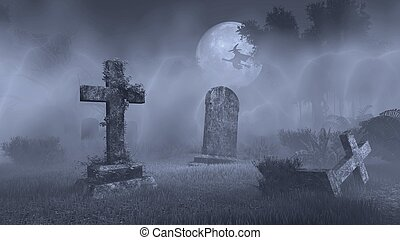 Big full moon above old spooky cemetery
