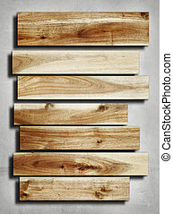 Wooden planks on grey background