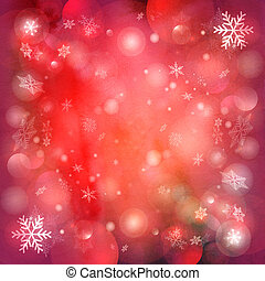 Christmas red background with snowflakes - Watercolor...