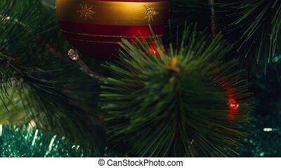 Decoration for Christmas tree - ball. The celebration of...
