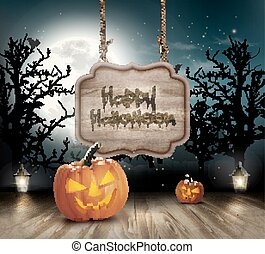 Scary Halloween background with a wooden sign