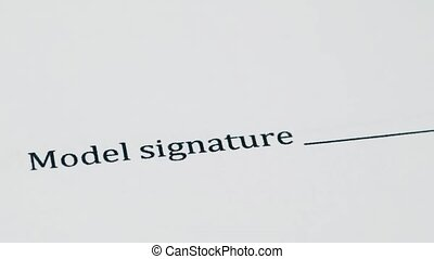 The signing of the document model, a pen writing a signature