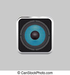 Realistic music speaker on a light background