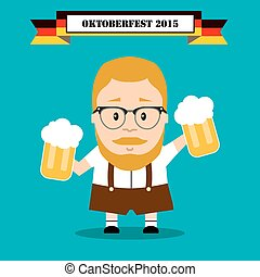 oktoberfest. man in traditional costume with beer