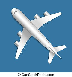 Icon with 3D plane, aircraft on a blue background