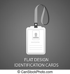 identification card with a photo pass in the flat style