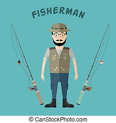 Fisherman hat and vest with two rods in a flat style