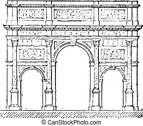 Triumphal arch, vintage engraving. - Triumphal arch, vintage...