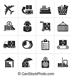 logistic and shipping icons - Black Cargo, logistic and...