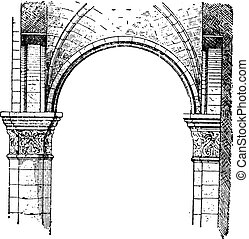 Transverse arch, vintage engraving. - Transverse arch,...