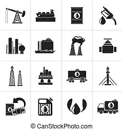 Petrol and oil industry icons - Black Petrol and oil...