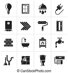 home renovation icons - Black Construction and home...