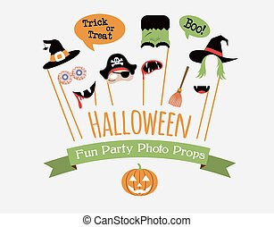Halloween party invitation with photo booth props -...