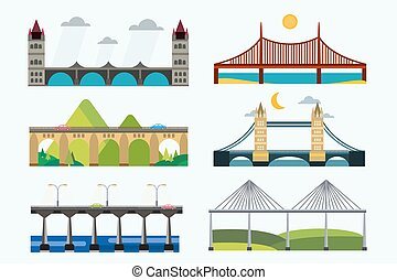Bridge silhouette vector illustration set - Bridge vector...