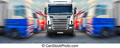 truck goes along ranks of trucks - truck goes frontally...