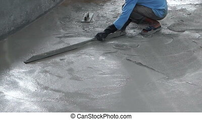 troweling cement floor surface - Video of Special plastering...