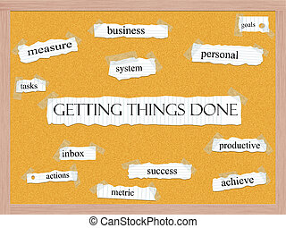 Getting Things Done Corkboard Word Concept with great terms...