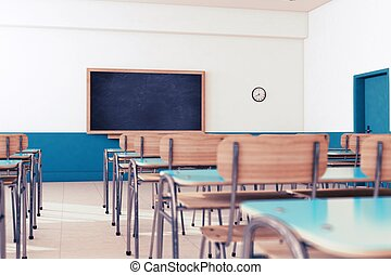 School classroom - Empty school classroom with desks and...