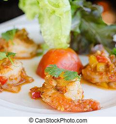 fried prawns with fresh chilli and salt - fried prawns with...