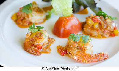 fried prawns with fresh chilli and salt