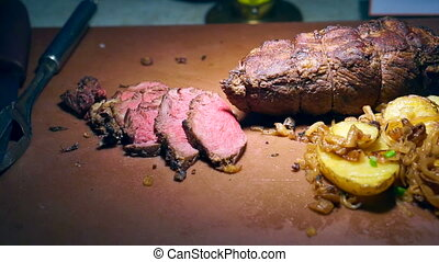 edium rare beef roasted slices - Video of Medium rare beef...