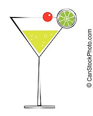 Martini with cherry and lime