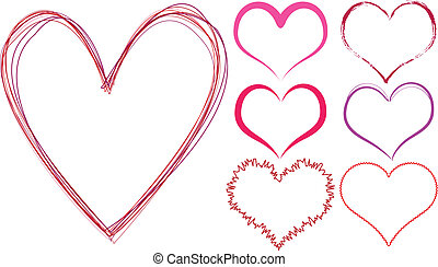 scribble hearts - set of scribble hearts, vector