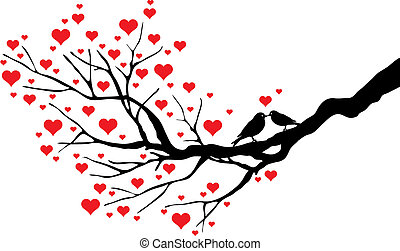 kissing birds - birds kissing on a heart tree, vector...