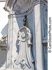 Manneken Pis Bronze Statue, Landmark of Brussels, Belgium -...