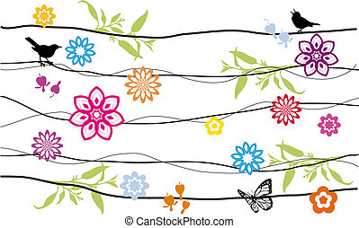 flowers and birds -  floral background with birds, vector