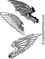 wing silhouettes -  set of wings silhouettes, vector