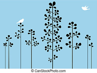 floral background - Abstract floral background with birds,...
