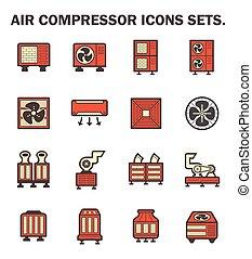 Air compressor icons sets