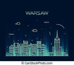Warsaw skyline silhouette illustration linear - Warsaw...