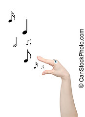 Song flows from lips, isolated on a white background
