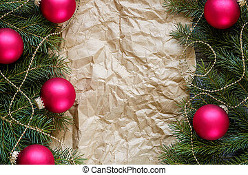 Decorated Christmas Fir Branches and Paper