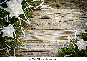 Christmas Border Design on a Wooden Plank