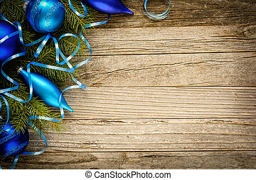 Christmas Decoration on a Wooden Plank - Christmas fir tree...