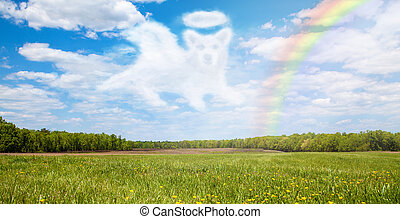Dog Passing Over Rainbow Bridge - Beautiful open field with...