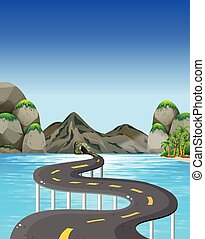 Road to the mountain illustration